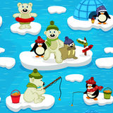 Seamless pattern with polar bear walrus penguin Royalty Free Stock Photo