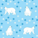 Seamless pattern polar bears and snowflakes Stock Image