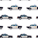 Seamless pattern of police cars. Stock Image