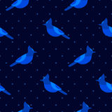Seamless pattern in polka dot with blue jay. Ornament for textile and wrapping. Stock Images