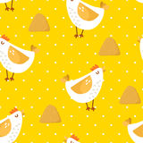 Seamless pattern in polka dot with cartoon chicken and haystack on yellow background. Ornament for textile and wrapping. Vector Stock Image
