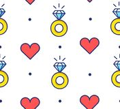 Seamless pattern in polka dot with engagement  rings and hearts. Thin line flat design. Vector background.  Royalty Free Stock Photos