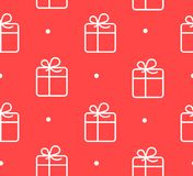 Seamless pattern in polka dot with gift box on red background.  Stock Photo