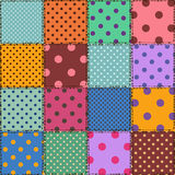 Seamless pattern of polka dot patchworks Royalty Free Stock Photography