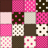 Seamless pattern of polka dot patchworks Stock Photo