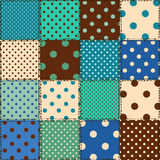 Seamless pattern of polka dot patchworks Royalty Free Stock Photo
