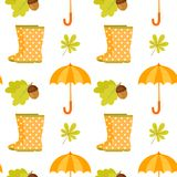 Seamless pattern with polka dot rubber boots, umbrella, oak leaves, acorn. Seamless pattern included in swatch panel.Design for fabric, web background royalty free illustration