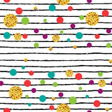 Seamless pattern with polka dot and stripes. Stock Photo