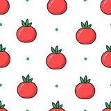 Seamless pattern in polka dot with tomatoes on white background. Thin line flat design. Vector Stock Images