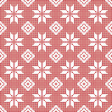 Seamless Pattern of polka dots with snowflakes. Seamless Pattern of polka dots, white snowflakes on a background of red polka dots. Vector illustration Royalty Free Illustration