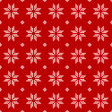 Seamless Pattern of polka dots, white snowflakes. On a red background. Vector illustration Royalty Free Illustration