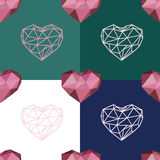 Seamless pattern with polygonal heart and contour heart. Seamless pattern in four  variants. Polygonal heart and contour heart Stock Image