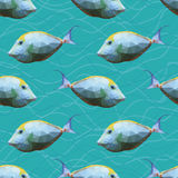 Seamless pattern with polygonal unicornfishes. Triangle low polygon style. Endless backdrop with colorful white and yellow orange spine unicorn fishes on deep royalty free illustration