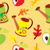 Seamless pattern of polyroll, apple and leaves on orange background -  illustration Royalty Free Stock Images