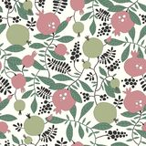 Seamless pattern of pomegranate and apple tree Royalty Free Stock Photo