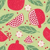 Seamless pattern. Pomegranate juicy fruits, leaves and flowers on shabby background. Fruit background royalty free illustration