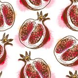 Seamless pattern with pomegranate Royalty Free Stock Images