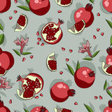 Seamless pattern with pomegranate vector. Stock Photo