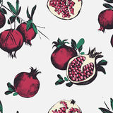 Seamless pattern with pomegranates. Fruits on white background. Stock Photo