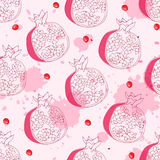 Seamless pattern with pomegrante Stock Photography