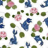 Seamless pattern with pond fish and lilies Royalty Free Stock Images