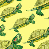 Seamless pattern Pond slider turtle green smiling vector illustr Royalty Free Stock Image