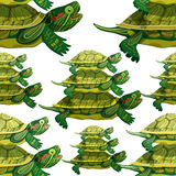 Seamless pattern Pond slider turtle green smiling vector  Stock Photos