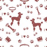 Seamless pattern with poodle silhouette, comb, collar, dog track. S, hearts and toy for dogs from a rope. Design for banner, poster or print royalty free illustration