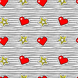 Seamless pattern with pop art stickers with pixel heart and star on texture with black stripes. Stock Photos