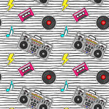Seamless pattern with pop art stickers with tape recorder, cassette, vinyl record on modern texture with black stripes. Vector cartoon 80s - 90s comic style Stock Photos