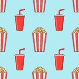 Seamless pattern with popcorn bucket and cup of soda. royalty free stock photos