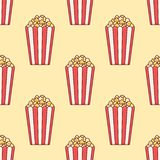 Seamless pattern with popcorn bucket. stock images