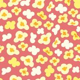Seamless pattern with popcorn on red background. Vector texture Royalty Free Stock Photography