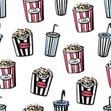 Seamless pattern with popcorn and soda. Vector seamless pattern Cinema snacks. Hand drawn doodles of pop corn boxes and soda cups with tubules. Black sketchy Royalty Free Stock Photos