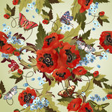 Seamless pattern with poppies Royalty Free Stock Image