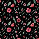Seamless pattern of poppies on black stock illustration