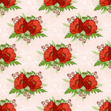 Seamless pattern with poppies, bohemian style. Stock Photo