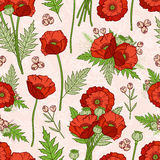 Seamless pattern with poppies, bohemian style. Royalty Free Stock Photos