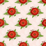 Seamless pattern with poppies, bohemian style. Stock Photos