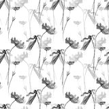 Seamless pattern with Poppies flowers illustration Royalty Free Stock Photo
