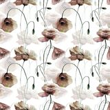 Seamless pattern with Poppies flowers. Watercolor painting Stock Images