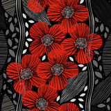 Seamless pattern with poppies. Hand-drawn floral background. Royalty Free Stock Images