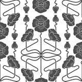 Seamless pattern with poppies inspired by art nouveau style elements. Seamless pattern with poppies inspired by art nouveau style royalty free illustration