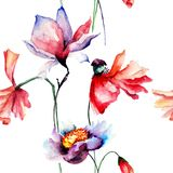 Seamless pattern with Poppies and Magnolia flowers. Watercolor illustration Stock Photography
