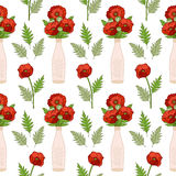 Seamless pattern with poppies in vases. Stock Image