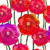 Seamless pattern of  poppies. Vector, EPS 10 Royalty Free Stock Photo