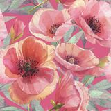 Seamless pattern with poppies. Watercolor illustration. Flower background. Floral wallpaper. royalty free illustration