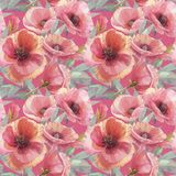 Seamless pattern with poppies. Watercolor illustration. Flower background. Floral wallpaper. vector illustration