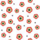 Seamless pattern with poppies in watercolor style. Royalty Free Stock Images
