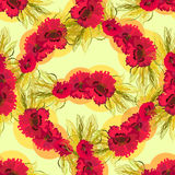 Seamless pattern of poppies and wheat. Royalty Free Stock Photography